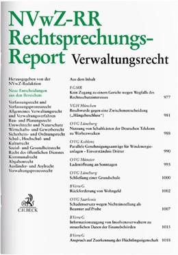 Abbildung von NVwZ-RR • Rechtsprechungs-Report Verwaltungsrecht | 31. Auflage | 2021 | beck-shop.de