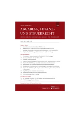 Abbildung von AFS - Zeitschrift für Abgaben-, Finanz- und Steuerrecht | 18. Jahrgang | 2020 | Berufungsentscheidungen zum Ab...