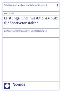 Abbildung von Paal   Leistungs- und Investitionsschutz für Sportveranstalter   1. Auflage   2014   8   beck-shop.de