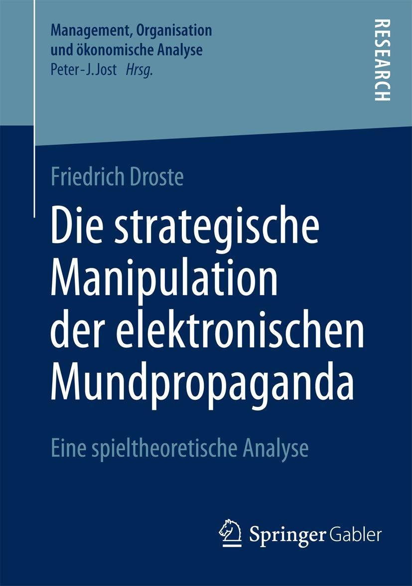 Die strategische Manipulation der elektronischen Mundpropaganda | Droste | 1. Auflage 2014, 2014 | Buch (Cover)