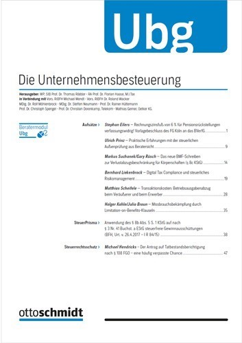 Ubg - Unternehmensbesteuerung | 11. Jahrgang, 2014 (Cover)