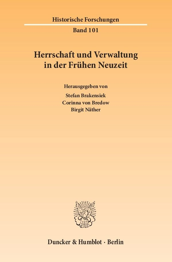 Abbildung von Brakensiek / Bredow / Näther | Herrschaft und Verwaltung in der Frühen Neuzeit | 2014