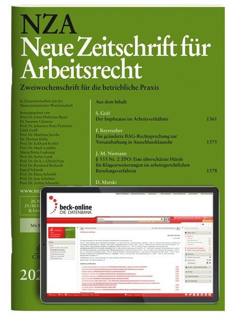 Abbildung von NZA • Neue Zeitschrift für Arbeitsrecht | 36. Jahrgang | 2019