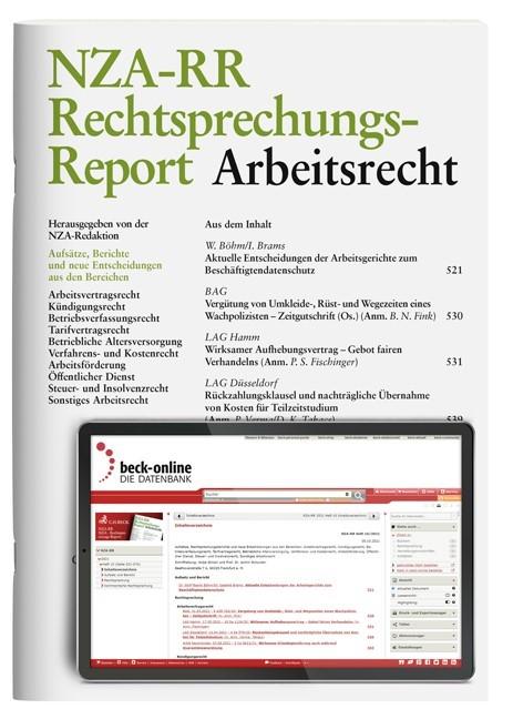 Abbildung von NZA-RR • Rechtsprechungs-Report Arbeitsrecht | 24. Jahrgang | 2019