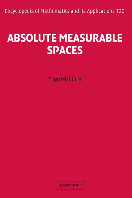 Absolute Measurable Spaces | Nishiura, 2008 | Buch (Cover)