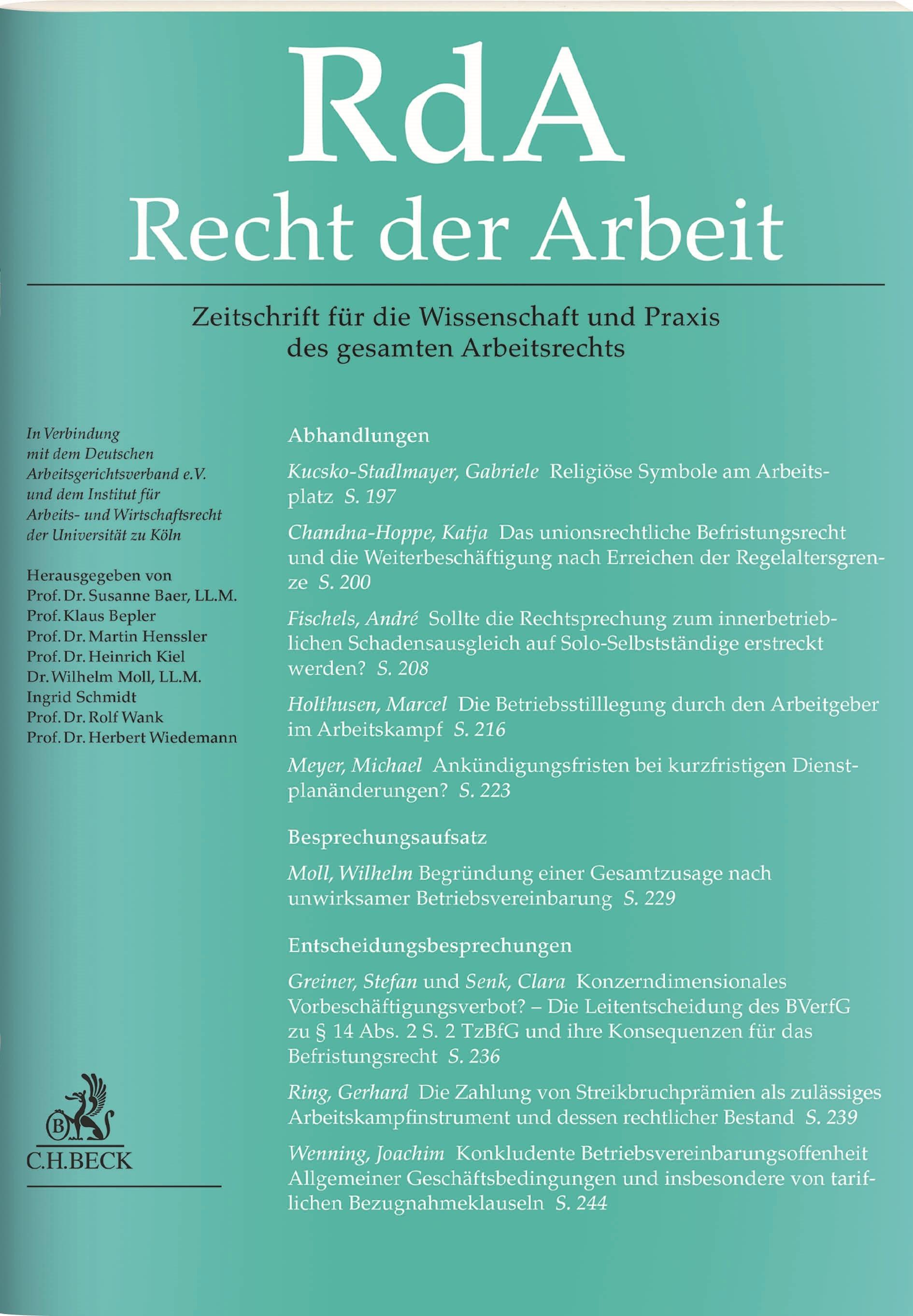 RdA • Recht der Arbeit (Cover)