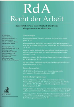 Abbildung von RdA • Recht der Arbeit | 73. Jahrgang | 2020 | Zeitschrift für die Wissenscha...