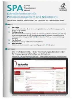 Abbildung von SPA - Schnellinformation für Personalmanagement und Arbeitsrecht | 27. Jahrgang | 2019 | Schnell, Praxisbezogen, Aktuel...