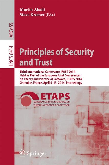 Principles of Security and Trust | Abadi / Kremer, 2014 | Buch (Cover)
