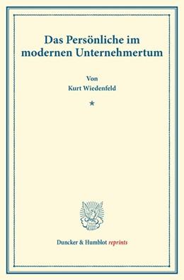 Abbildung von Wiedenfeld   Das Persönliche im modernen Unternehmertum   2014