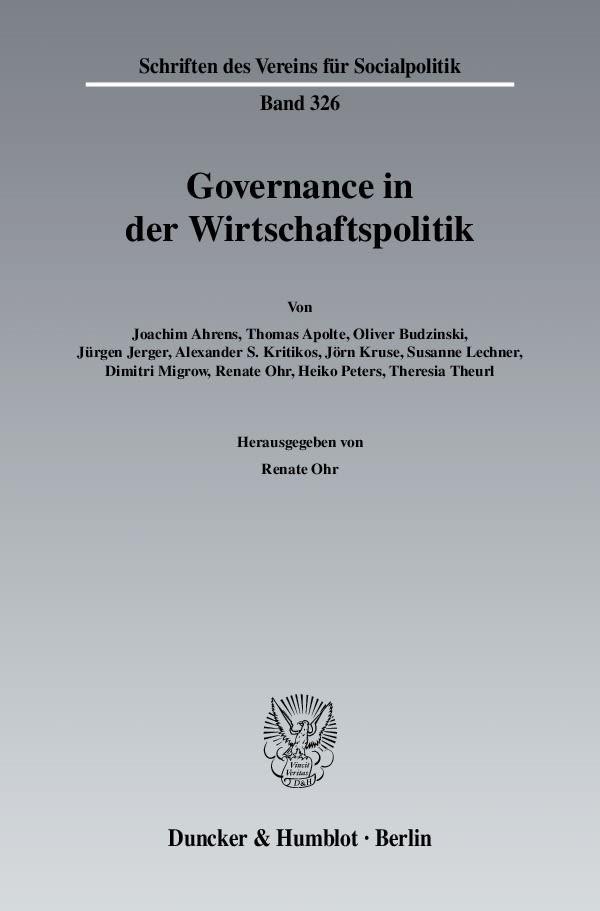 Governance in der Wirtschaftspolitik | Ohr, 2010 | Buch (Cover)