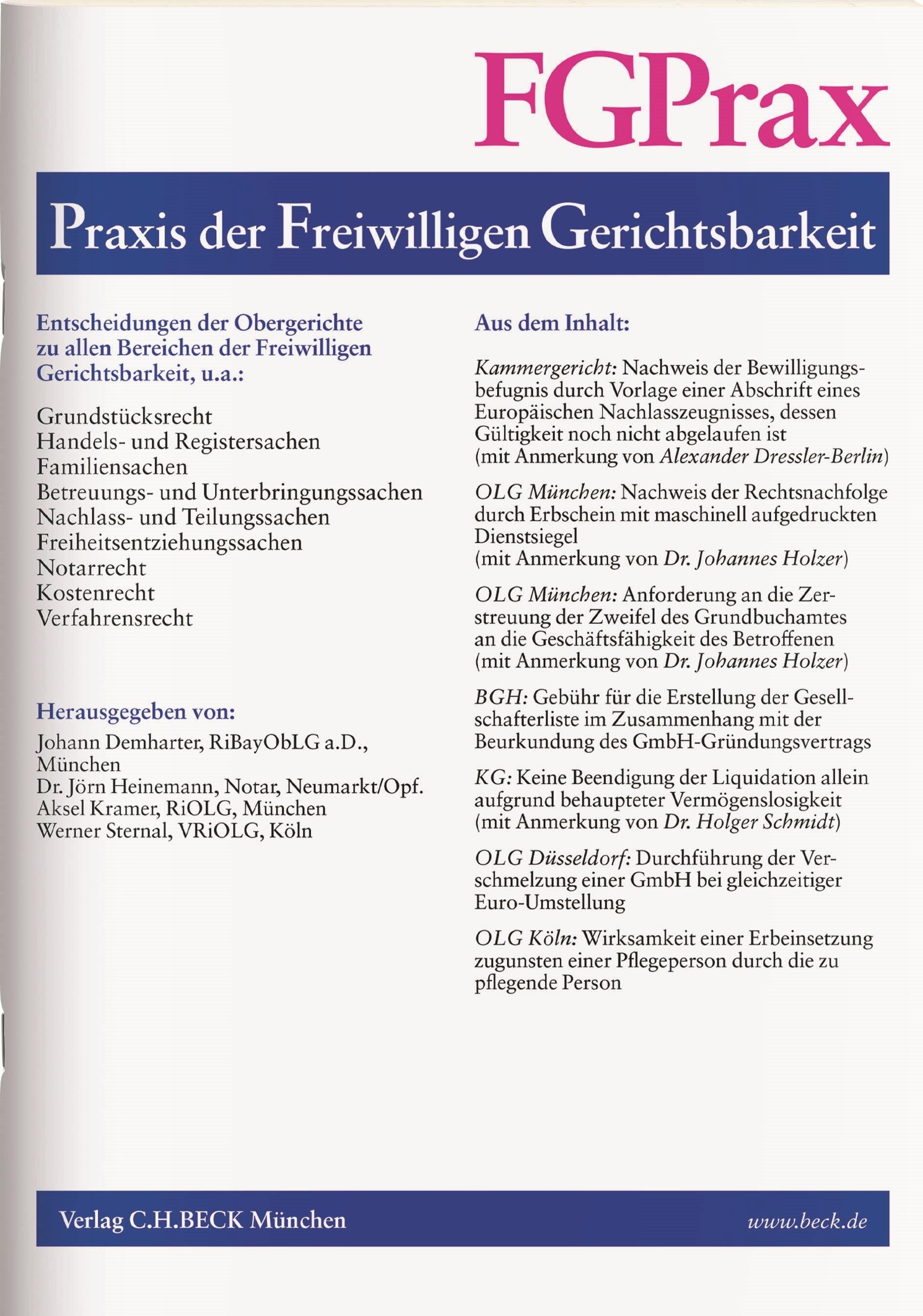 FGPrax • Praxis der Freiwilligen Gerichtsbarkeit | 25. Jahrgang (Cover)