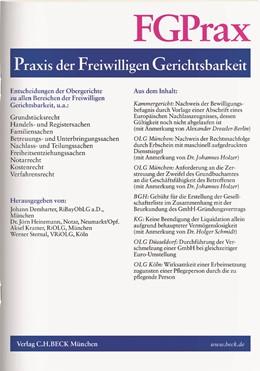 Abbildung von FGPrax • Praxis der Freiwilligen Gerichtsbarkeit | 26. Jahrgang. | 2020 | Entscheidungen der Obergericht...