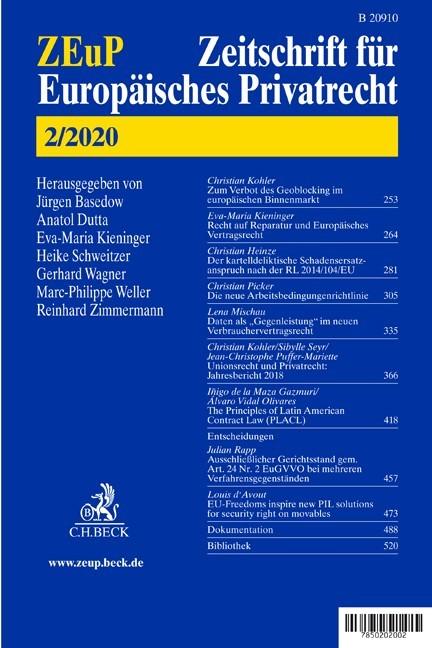 ZEuP • Zeitschrift für Europäisches Privatrecht | 26. Jahrgang (Cover)