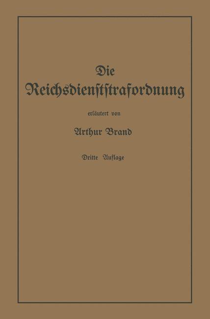 Die Reichsdienststrafordnung (RDStO) | Brand, 1941 | Buch (Cover)