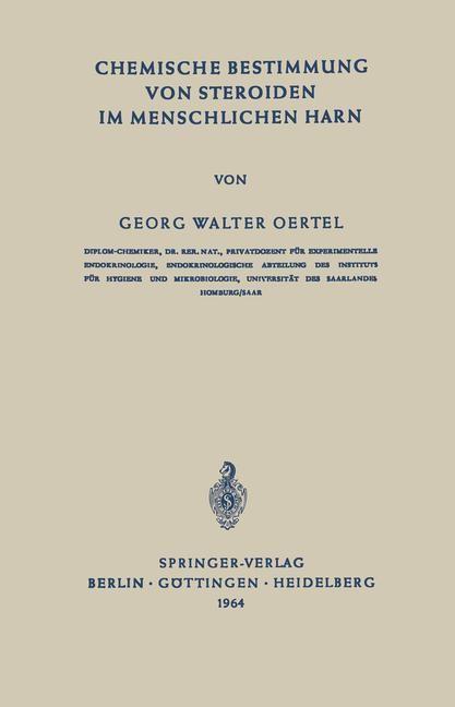 Chemische Bestimmung von Steroiden im Menschlichen Harn | Oertel, 1964 | Buch (Cover)
