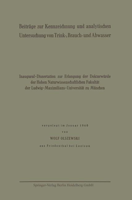 Beiträge zur Kennzeichnung und analytischen Untersuchung von Trink-, Brauch- und Abwasser | Olszewski, 1940 | Buch (Cover)