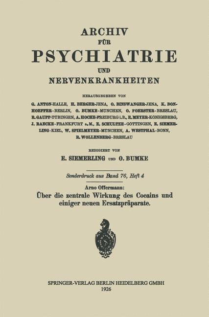 Über die zentrale Wirkung des Cocains und einiger neuen Ersatzpräparate | Offermann, 1926 | Buch (Cover)