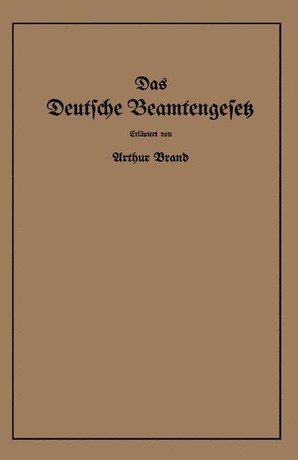 Das Deutsche Beamtengesetz (DBG) | Brand, 1937 | Buch (Cover)