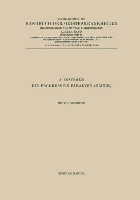 Syphilitische Geistesstörungen · Psychosen des Rückbildungs- und Greisenalters · Epileptische Reaktionen und Epileptische Krankheiten | Bostroem, 1930 | Buch (Cover)