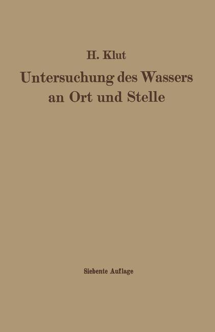 Untersuchung des Wassers an Ort und Stelle | Olszewski / Klut, 1938 | Buch (Cover)
