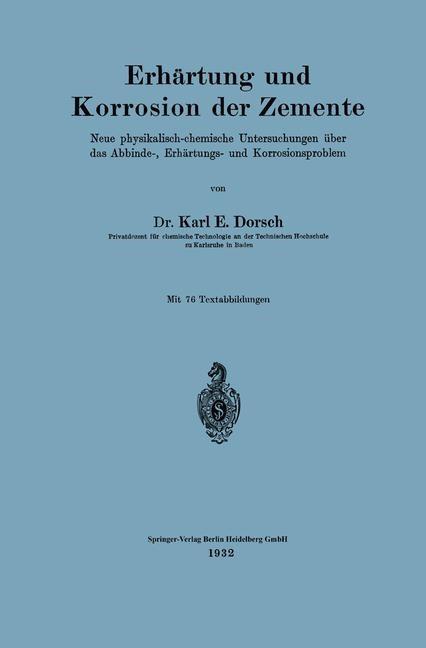 Abbildung von Dorsch | Erhärtung und Korrosion der Zemente | 1932