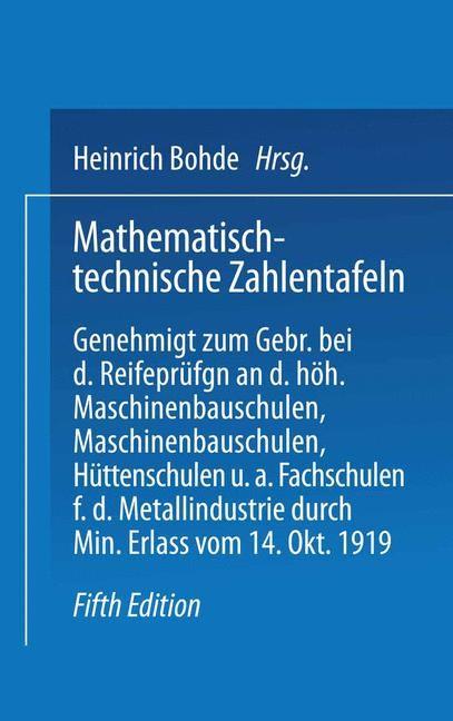 Abbildung von Bohde / Freyberg / Geusen | Mathematisch-technische Zahlentafeln | 1927