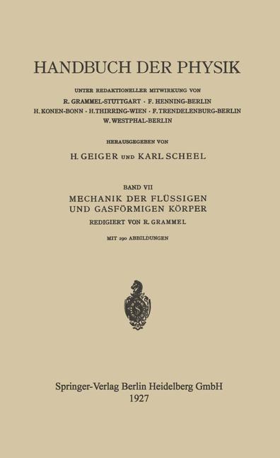 Mechanik der Flüssigen und Gasförmigen Körper | Ackeret / Betz / Forchheimer, 1927 | Buch (Cover)