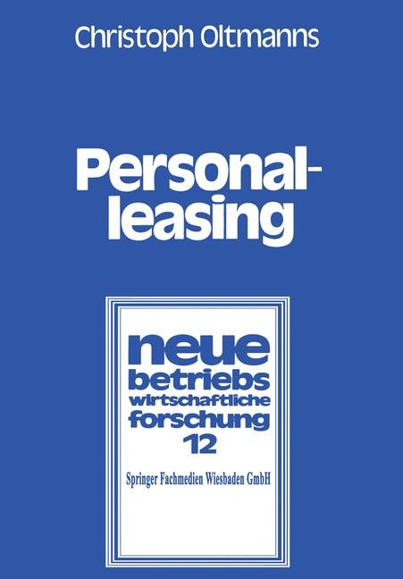 Personalleasing | Oltmanns, 1979 | Buch (Cover)