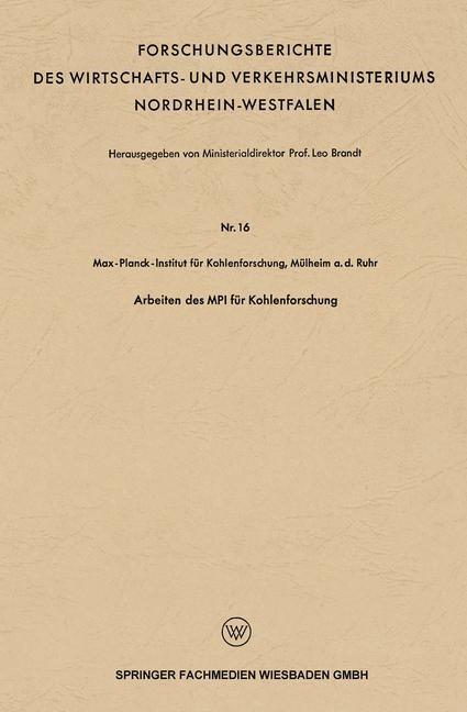 Arbeiten des MPI für Kohlenforschung | Brandt, 1953 | Buch (Cover)