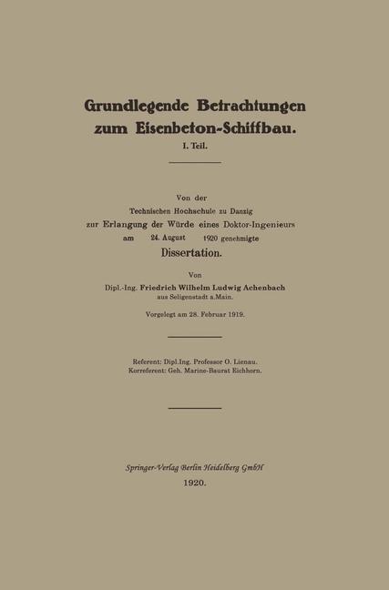 Grundlegende Betrachtungen zum Eisenbeton-Schiffbau | Achenbach, 1920 | Buch (Cover)