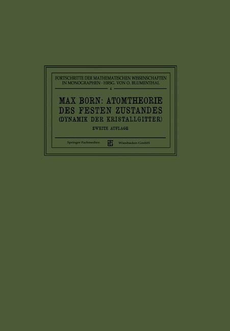 Atomtheorie des Festen Zustandes (Dynamik der Kristallgitter) | Born, 1923 | Buch (Cover)