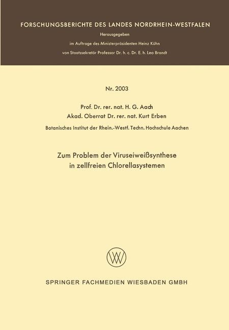Zum Problem der Viruseiweißsynthese in zellfreien Chlorellasystemen | Aach, 1968 | Buch (Cover)
