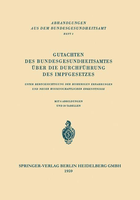 Gutachten des Bundesgesundheitsamtes über die Durchführung des Impfgesetzes, 1959 | Buch (Cover)