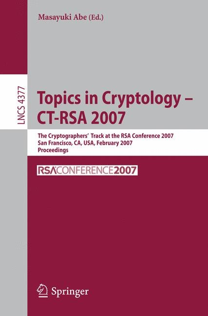 Topics in Cryptology – CT-RSA 2007 | Abe, 2006 | Buch (Cover)