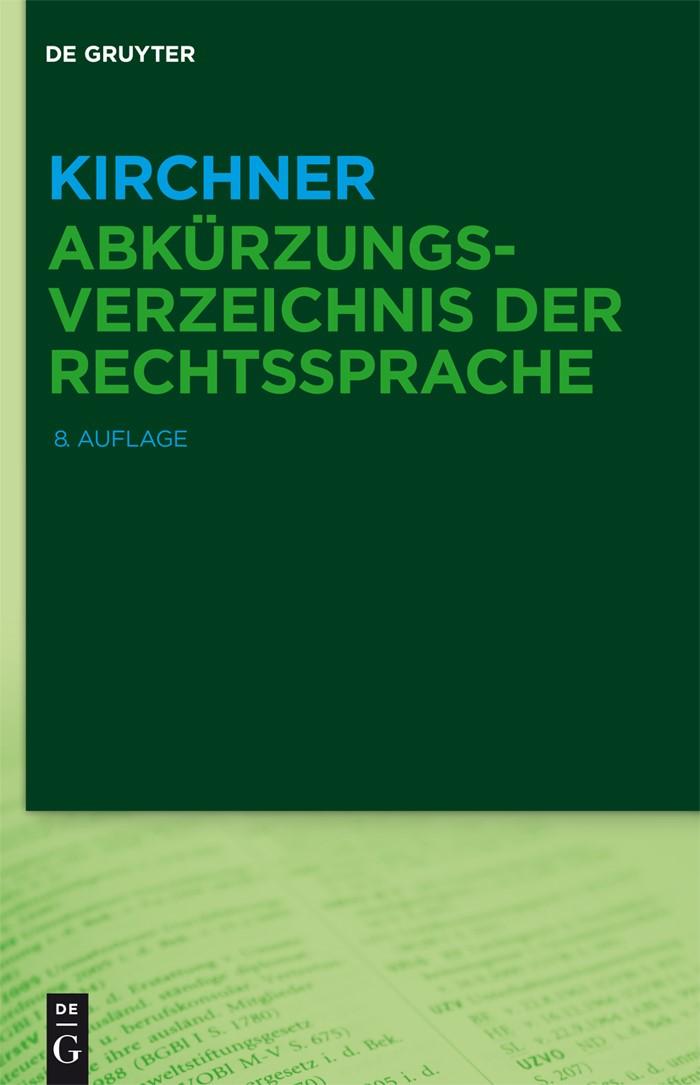 Kirchner – Abkürzungsverzeichnis der Rechtssprache | Kirchner, 2015 | Buch (Cover)