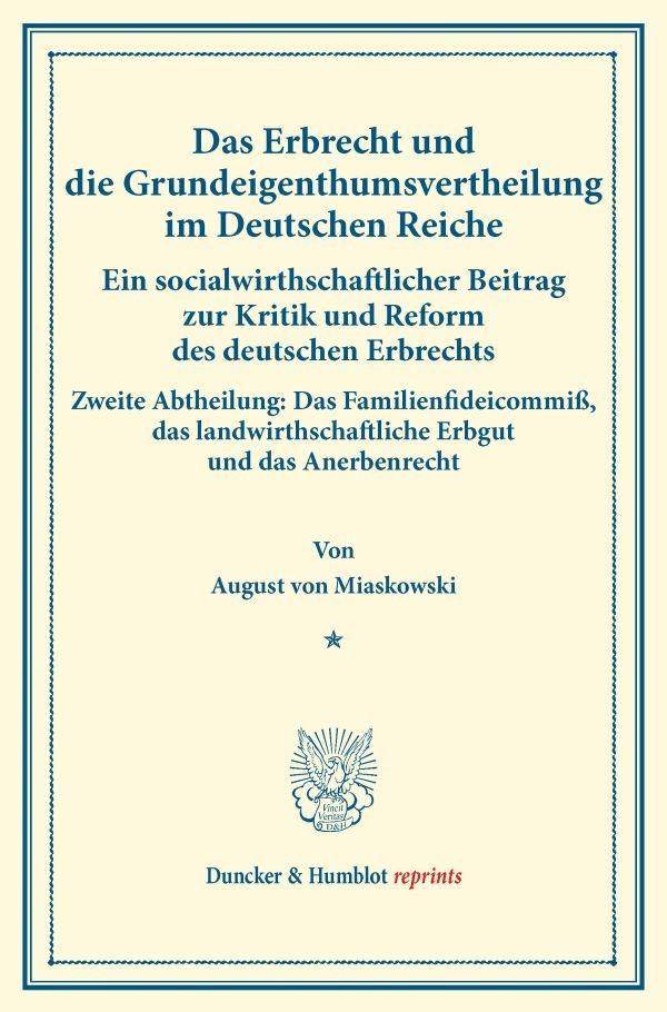 Abbildung von Miaskowski | Das Erbrecht und die Grundeigenthumsvertheilung im Deutschen Reiche. | 2014
