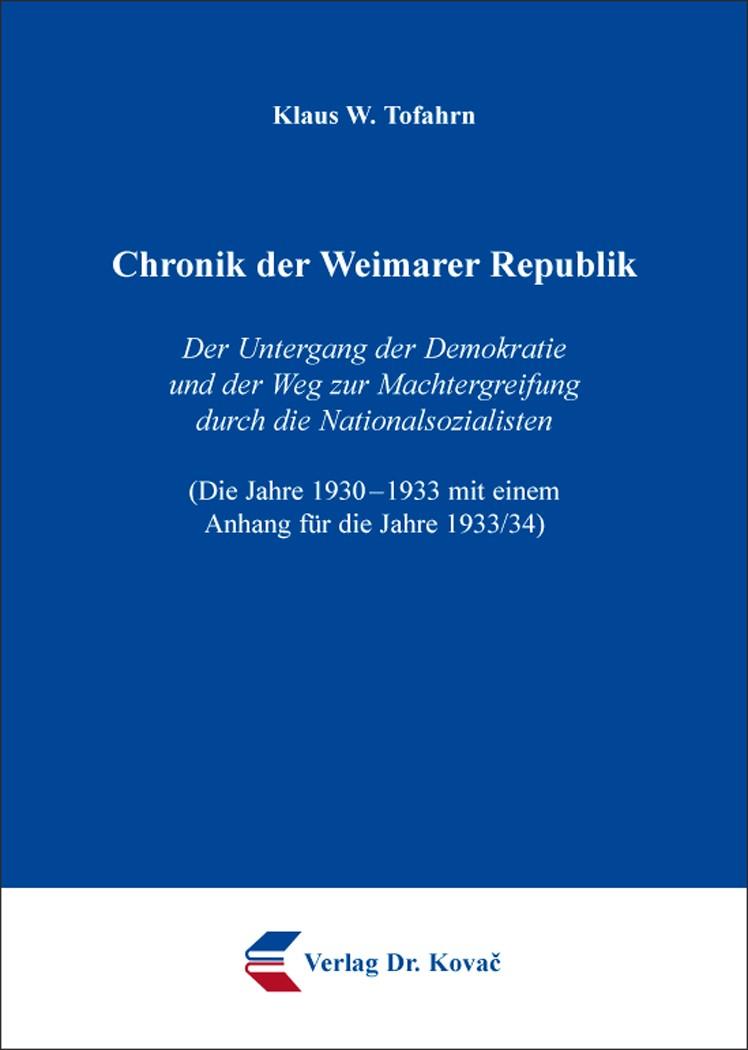 Abbildung von Tofahrn | Chronik der Weimarer Republik | 2014