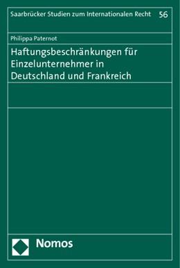 Abbildung von Paternot | Haftungsbeschränkungen für Einzelunternehmer in Deutschland und Frankreich | 2014 | 56