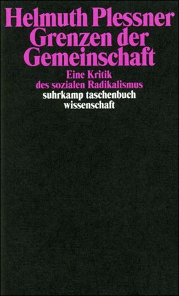 Abbildung von Plessner   Grenzen der Gemeinschaft   2. Auflage   2002   Eine Kritik des sozialen Radik...   1540