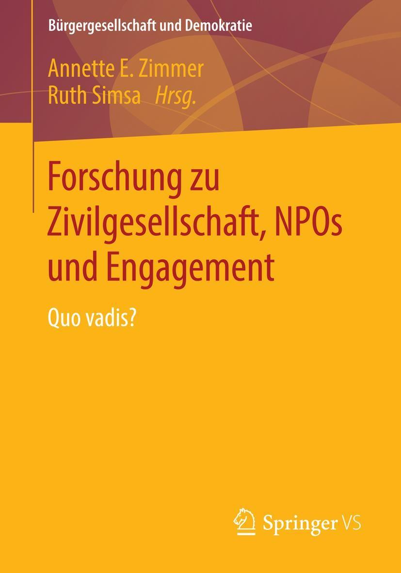 Abbildung von Zimmer / Simsa   Forschung zu Zivilgesellschaft, NPOs und Engagement   2014