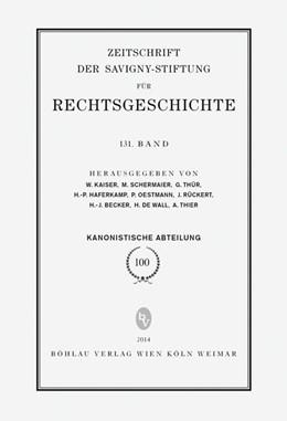 Abbildung von Thier / Becker / de Wall | ZRG Kanonistische Abteilung 100. Band (2014) | 2014