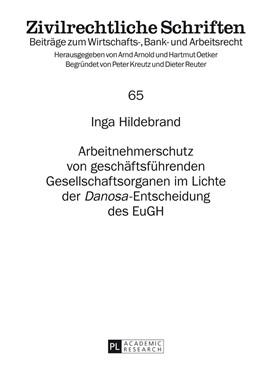 Abbildung von Hildebrand | Arbeitnehmerschutz von geschäftsführenden Gesellschaftsorganen im Lichte der «Danosa»-Entscheidung des EuGH | 2014 | 65