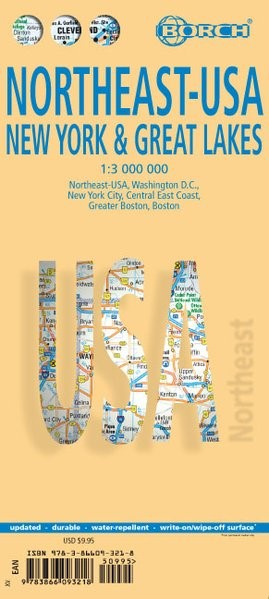 Northeast-USA 5. New York & the Great Lakes 1 : 3 000 000 + City Maps | 13. Auflage, 2019 (Cover)