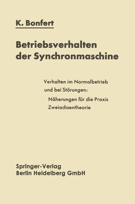 Betriebsverhalten der Synchronmaschine   Bonfert, 2014   Buch (Cover)