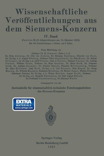 Abbildung von Boul / Dillan / Ebeling | Wissenschaftliche Veröffentlichungen aus dem Siemens-Konzern | 1928