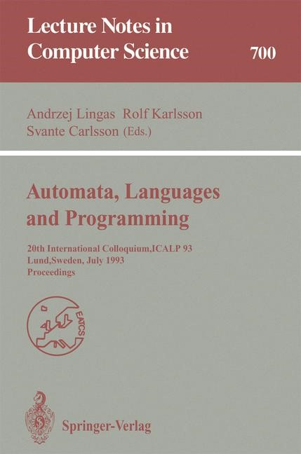 Automata, Languages and Programming | Lingas / Karlsson / Carlsson, 1993 | Buch (Cover)
