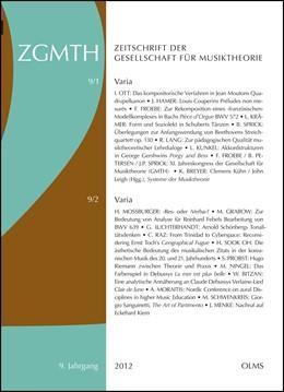 Abbildung von Polth / Froebe / Rohringer / Sprick | ZGMTH - Zeitschrift der Gesellschaft für Musiktheorie, 9. Jahrgang 2012 | 2014 | 2014 | Ausgabe 1: Varia. Hrsg. von Fo... | 9