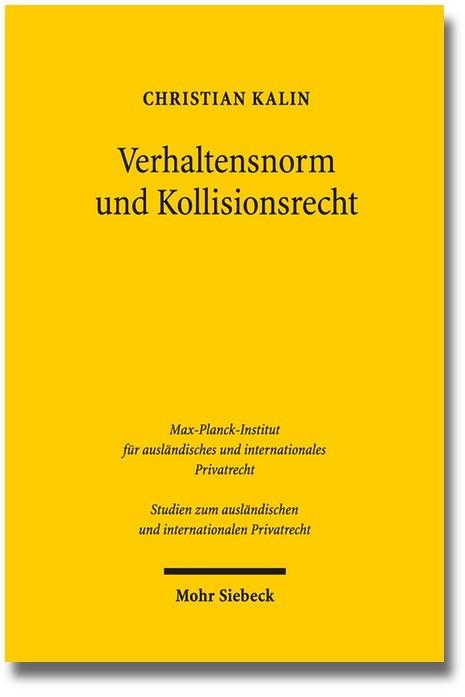 Verhaltensnorm und Kollisionsrecht | Kalin, 2014 | Buch (Cover)