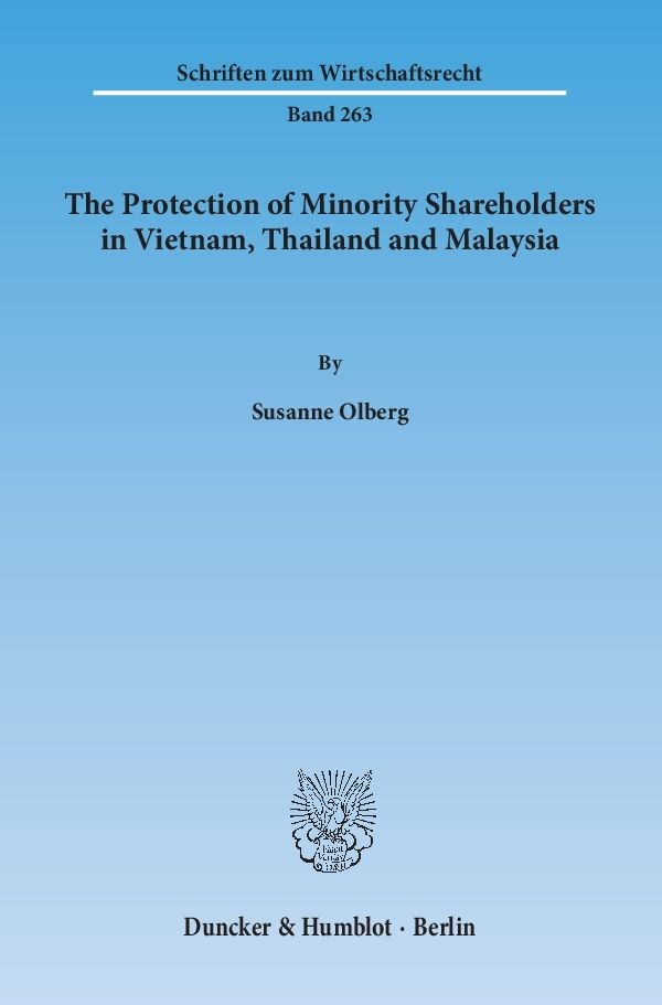 The Protection of Minority Shareholders in Vietnam, Thailand and Malaysia | Olberg, 2014 | Buch (Cover)